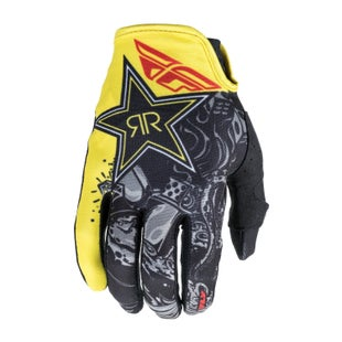 Fly Lite Rockstar Motocross Gloves - Yellow Black 18