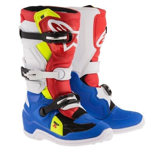 Alpinestars Tech 7S YOUTH Youth Motocross Boots - Blue White Red Flou Yellow