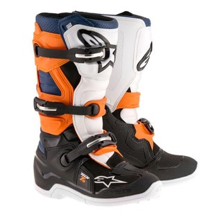 Alpinestars Kids Boots Tech 7S Youth Motocross Boots - Black Orange White Blue