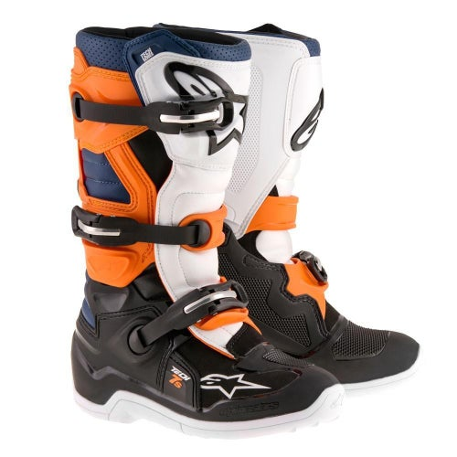 Alpinestars Tech 7S YOUTH Youth Motocross Boots - Black Orange White Blue