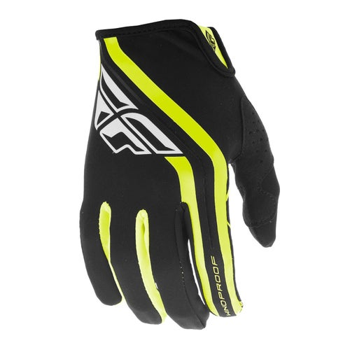 Fly Windproof Lite MX Black Hi Motocross Gloves - Vis