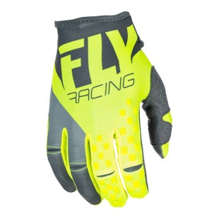 Fly Kinetic MX Grey Hi Motocross Gloves - Vis