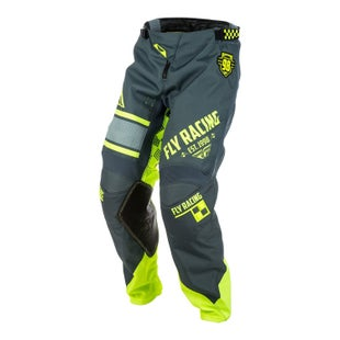 Fly Kinetic Era MX Grey Hi Motocross Pants - Black Yellow
