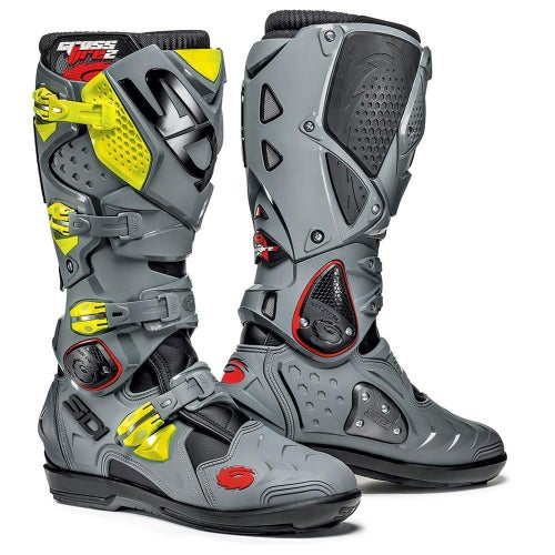 Sidi Crossfire 2 SRS Motocross Boots - Fluo Yellow Grey