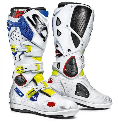 Sidi Crossfire 2 SRS Motocross Boots - Flou Yellow White Blue