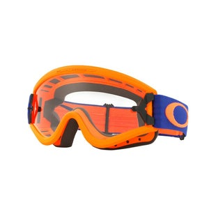Oakley L FrameFlo Orange Blue Motocross Goggles - Orange Clear Lens