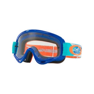 Oakley XS O FrameTreadburn Orange Blue Motocross Goggles - Orange Blue Clear Lens