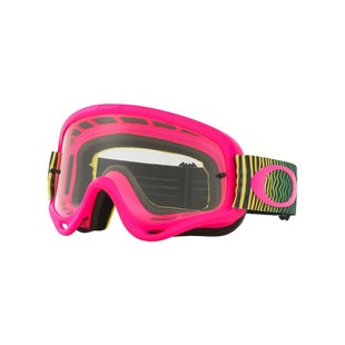 Oakley OFrameShockwave Flo Pink Yellow Green Motocross Goggles - Yellow Green Clear Lens