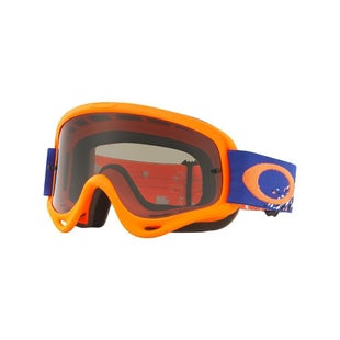 Oakley O FrameChecked Finish Blue Orange Motocross Goggles - Dark Grey Lens