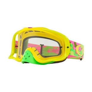Oakley CrowbarThermo Camo Pink Yellow Green Motocross Goggles - Clear Lens