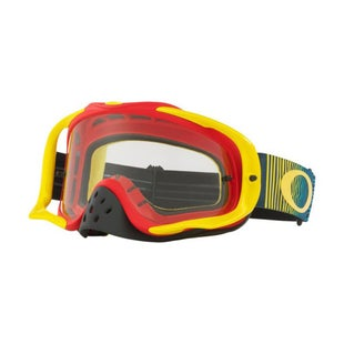 Oakley CrowbarShockwave Red Yellow Blue Motocross Goggles - Clear Lens