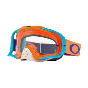 Oakley CrowbarFlo Orange Blue Motocross Goggles - Clear Lens
