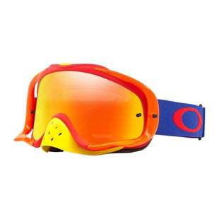 Oakley CrowbarFlo Blue Red Motocross Goggles - Fire Iridium and Clear Lens