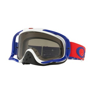 Oakley CrowbarChecked Finish Red White Blue Motocross Goggles - Dark Grey Lens