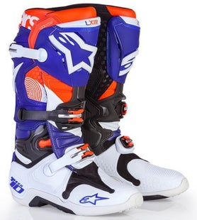 Alpinestars Tech 10 Indianapolis MX Motocross Boots - LE Blue Flou Orange