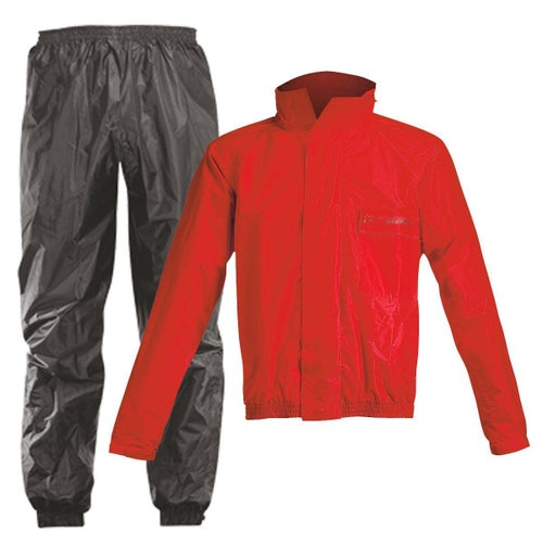 Acerbis Waterproof Rain Suit Set Pants and Jacket - Black Red