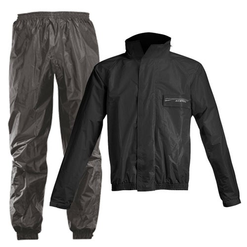 Acerbis Waterproof Rain Suit Set Pants and Jacket - Black Black