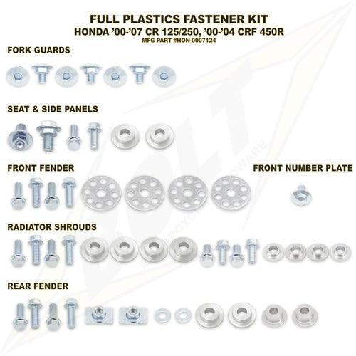 Bolt Hardware Honda Full Plastic Fastener Kit CRF450R 00 Plastic Kit - Black