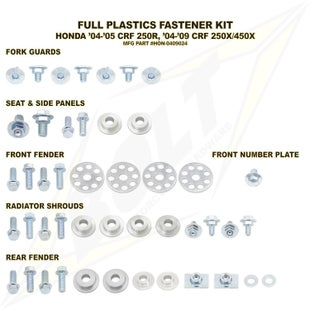 Bolt Hardware Honda Full Plastic Fastener Kit CRF250X 450X 04 Plastic Kit - Black