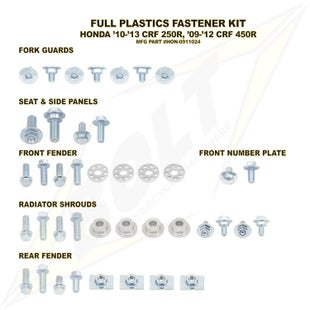 Bolt Hardware Honda Full Plastic Fastener Kit CRF450R 09 Plastic Kit - Black