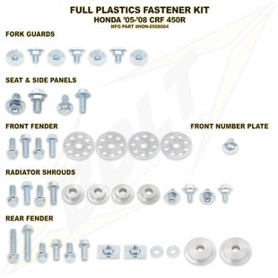 Bolt Hardware Honda Full Plastic Fastener Kit CRF450R 05 Plastic Kit - Black