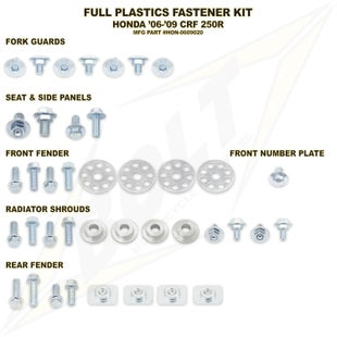 Bolt Hardware Honda Full Plastic Fastener Kit CRF250R 06 Plastic Kit - Black
