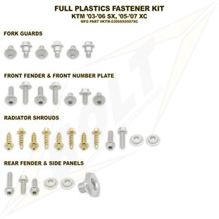 Bolt Hardware KTM Full Plastic Fastener Kit KTM XC 05 Plastic Kit - Black