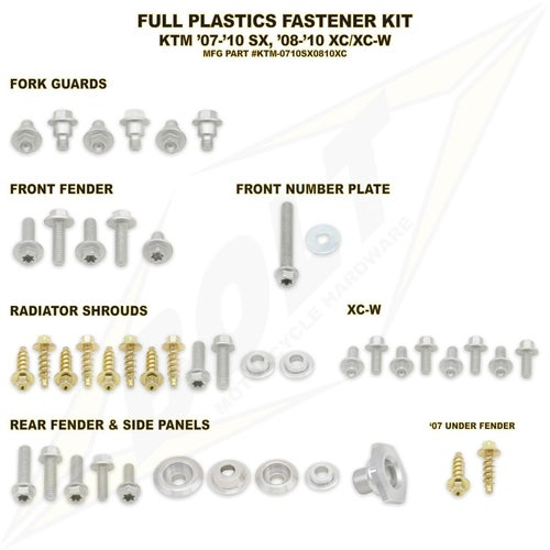 Bolt Hardware KTM Full Plastic Fastener Kit KTM XC 08 Plastic Kit - Black