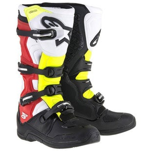 Alpinestars Tech 5 Five MX Motocross Boots - Black Red Fluo Yellow