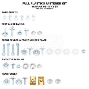Bolt Hardware Full Plastic Fastener Kit Yamaha YZ85 02 Plastic Fastening Kit - Grey