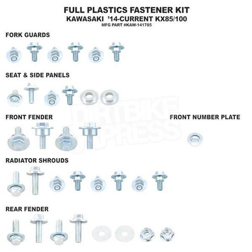Bolt Hardware Full Plastic Fastener Kit Kawasaki KX85 14 Plastic Fastening Kit - Black