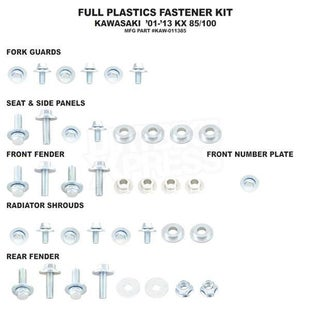 Bolt Hardware Full Plastic Fastener Kit Kawasaki KX85 01 Plastic Fastening Kit - Black