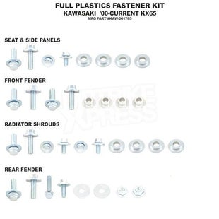 Bolt Hardware Full Plastic Fastener Kit Kawasaki KX65 00 Plastic Fastening Kit - Black