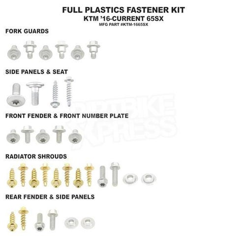Bolt Hardware Full Plastic Fastener Kit KTM SX65 16 Plastic Fastening Kit - Black