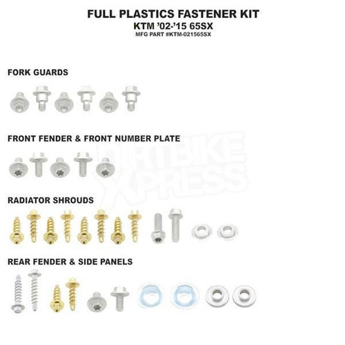 Bolt Hardware Full Plastic Fastener Kit KTM SX65 02 Plastic Fastening Kit - Black