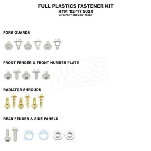 Bolt Hardware Full Plastic Fastener Kit KTM SX50 02 Plastic Fastening Kit - Black