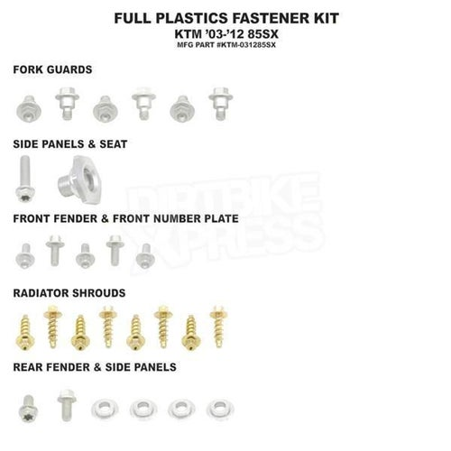 Bolt Hardware Full Plastic Fastener Kit KTM SX85 03 Plastic Fastening Kit - Black