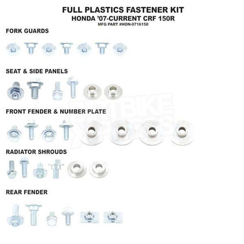 Bolt Hardware Full Plastic Fastener Kit Honda CRF150R 07 Plastic Fastening Kit - Black