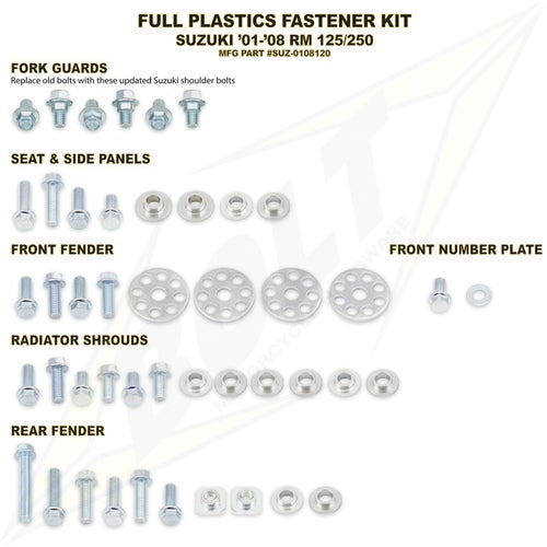 Bolt Hardware Suzuki Full Plastic Fastener Kit RM125 250 01 Plastic Fastening Kit - Black