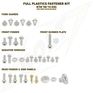 Bolt Hardware KTM Full Plastic Fastener Kit KTM EXC 08 Plastic Fastening Kit - Black