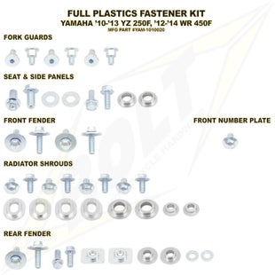 Bolt Hardware Yamaha Full Plastic Fastener Kit WRF450 12 Plastic Fastening Kit - Black