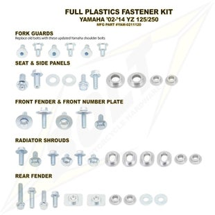 Plastic Fastening Kit Bolt Hardware Yamaha Full Plastic Fastener Kit YZ125 250 02 - Black