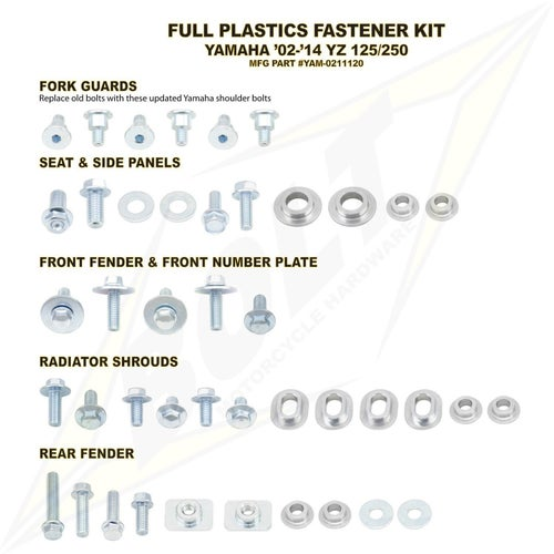 Bolt Hardware Yamaha Full Plastic Fastener Kit YZ125 250 02 Plastic Fastening Kit - Black