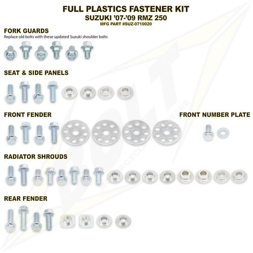 Bolt Hardware Suzuki Full Plastic Fastener Kit RMZ250 07 Plastic Fastening Kit - Black