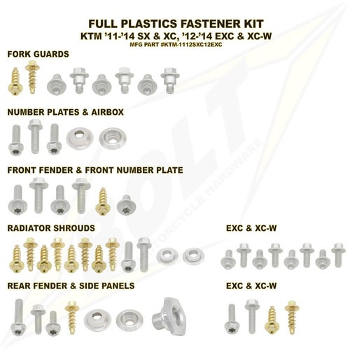 Bolt Hardware KTM Full Plastic Fastener Kit KTM EXC12 Plastic Fastening Kit - Black