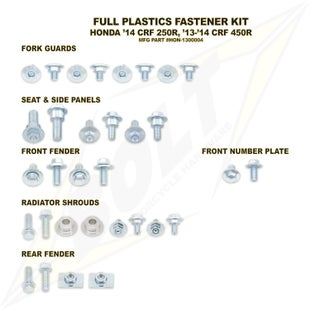 Bolt Hardware Honda Full Plastic Fastener Kit CRF450R 13 Plastic Fastening Kit - Black