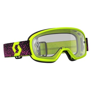 Scott Sports Buzz Pro YOUTH Motocross Goggles - Yellow Purple ~ Clear Lens