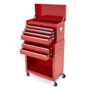 Dirtbikebitz Motocross Workshop Tool Chest and Cabinet on Wheels Tool Box - Red