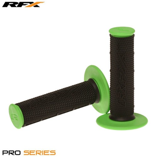 RFX Pro Series 20100 Dual Compound Grips Black Centre Pair MX Handlebar Grip - Black Green