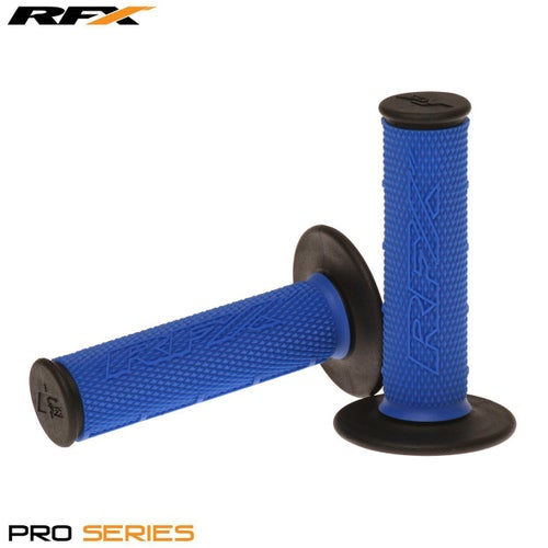 RFX Pro Series 20200 Dual Compound Grips Black Ends Pair MX Handlebar Grip - Blue Black